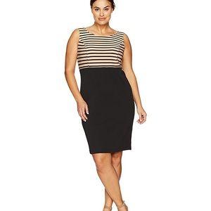 Danny & Nicole Taupe & Black Striped Dress Sz 16